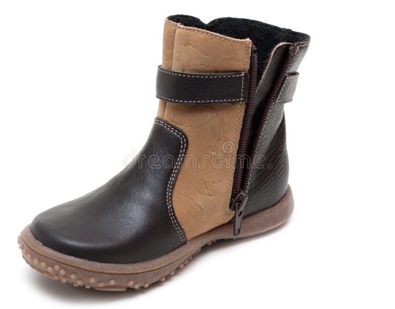婴孩棕色皮鞋冬天 免版税库存图片