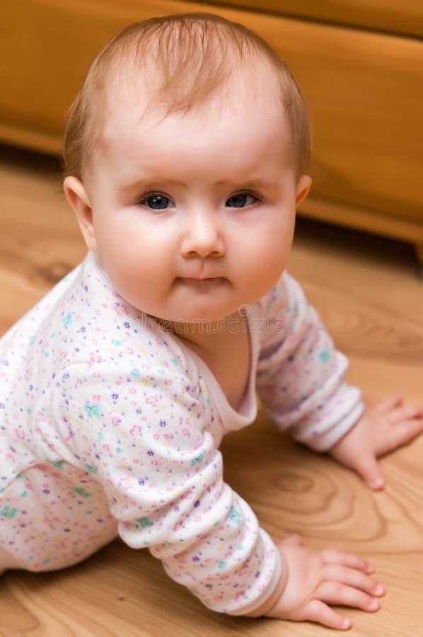 婴孩楼层女孩 库存照片