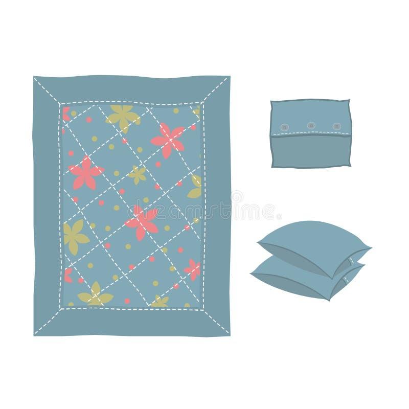 婴孩毯子,装饰用花和缝 用缝和按钮装饰的一套三个枕头 查出在白色 免版税库存照片