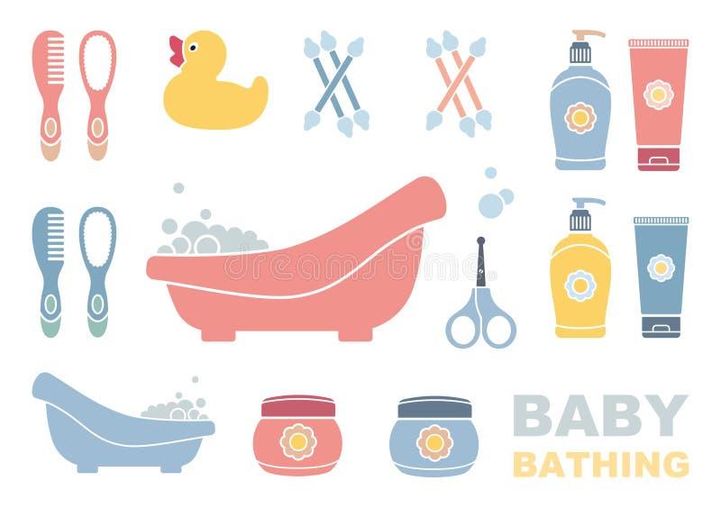 婴孩沐浴和关心象 库存例证