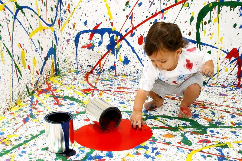 婴孩油漆 免版税图库摄影
