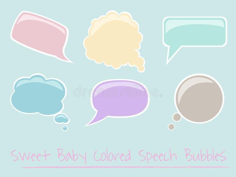 婴孩泡影上色了光滑的集演讲 库存图片