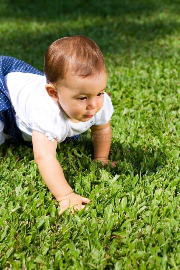 婴孩爬行的女孩 免版税库存图片
