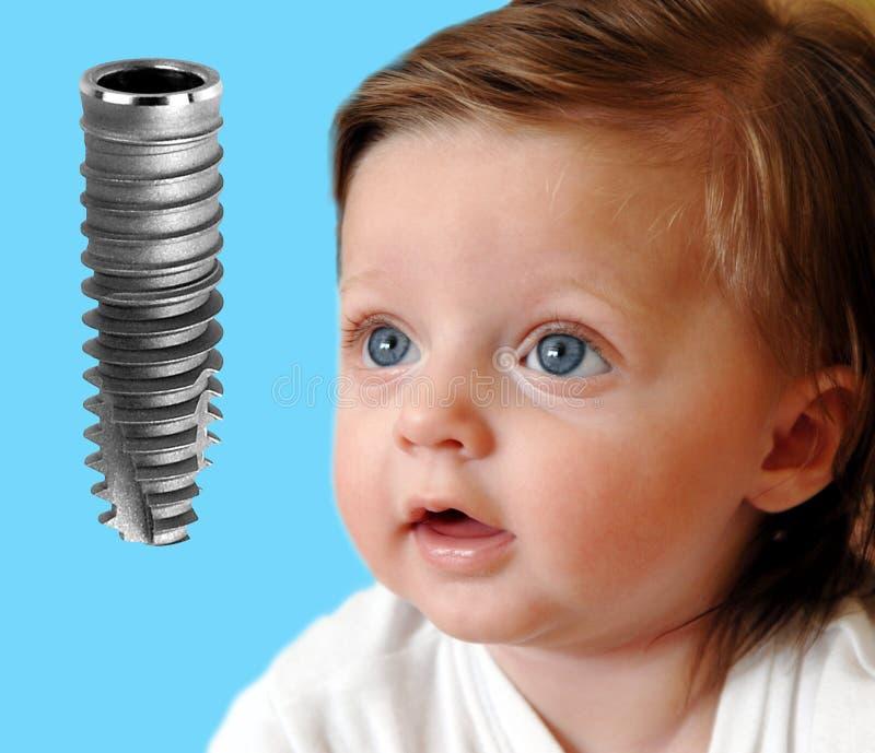 婴孩牙插入物查出的查找新 免版税库存照片