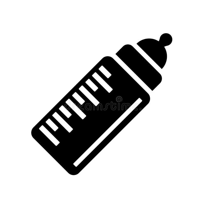 婴孩牛奶瓶象在白色b和标志隔绝的传染媒介标志 皇族释放例证