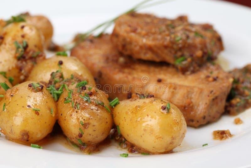 婴孩猪肉土豆烘烤 库存图片