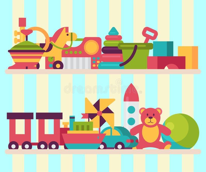 婴孩玩具在平的动画片样式的商店架子 孩子比赛玩具熊,金字塔,玩偶 孩子乐趣和活动演奏五颜六色 库存例证