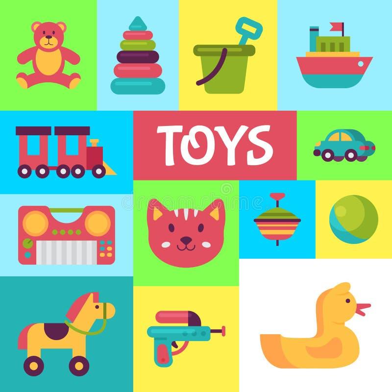 婴孩玩具在平的动画片样式的商店海报 孩子比赛玩具熊,金字塔,玩偶 孩子乐趣和活动演奏五颜六色 库存例证