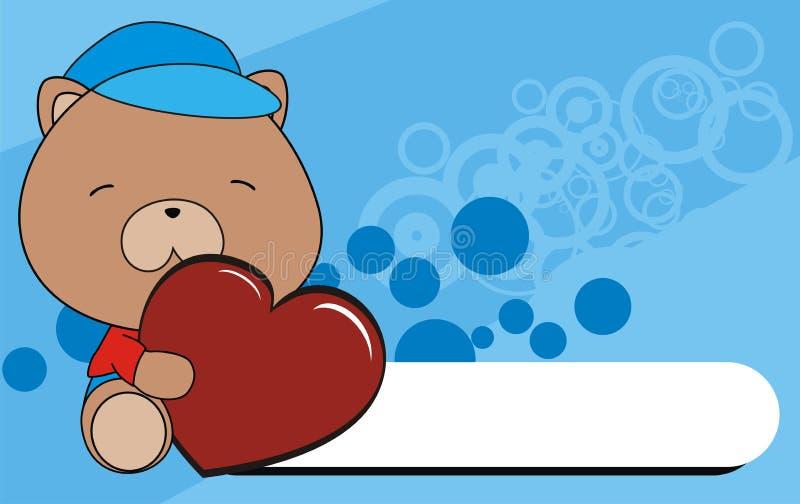 婴孩玩具熊动画片爱心脏背景 向量例证