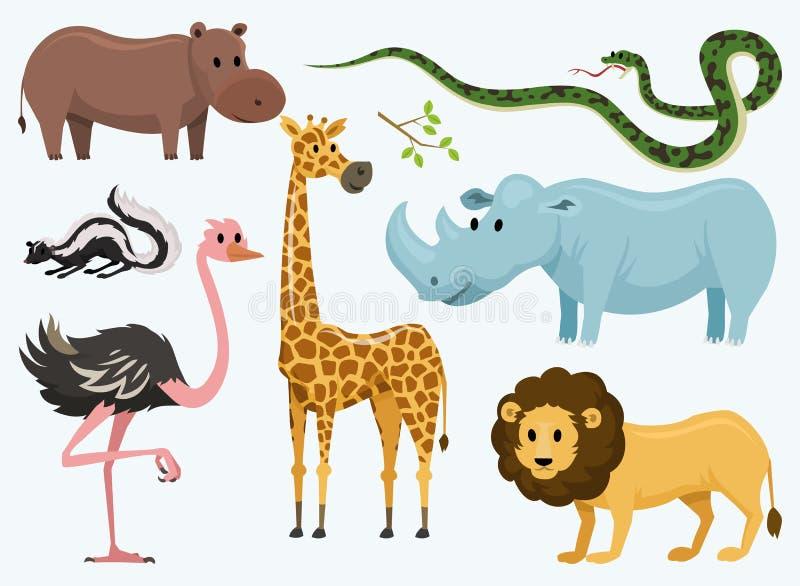 婴孩的逗人喜爱的动物 野生长颈鹿犀牛 驼鸟和臭鼬 蛇和河马 狮子和老虎 葡萄酒世界 皇族释放例证