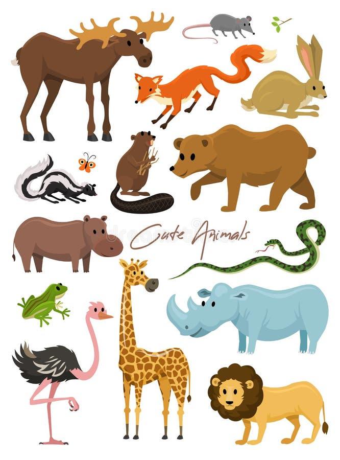 婴孩的逗人喜爱的动物 野生长颈鹿麋骆驼和鹿,犀牛 野兔、狼和熊与狮子和老虎 葡萄酒 向量例证