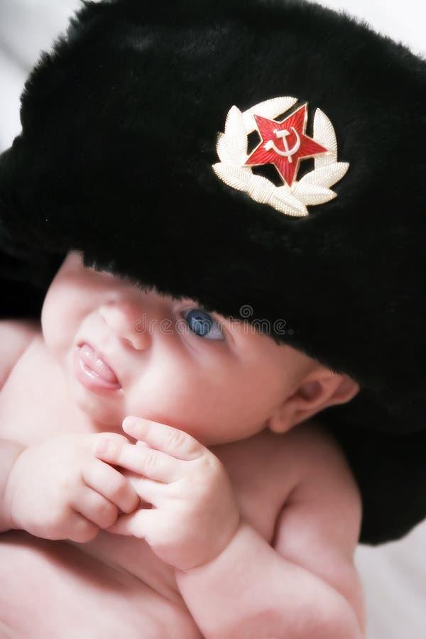 婴孩盖帽毛皮苏维埃 免版税图库摄影