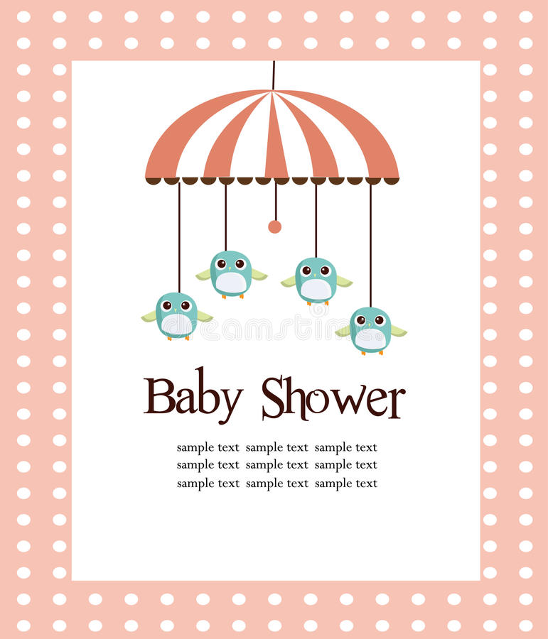 婴孩看板卡女孩阵雨 库存例证