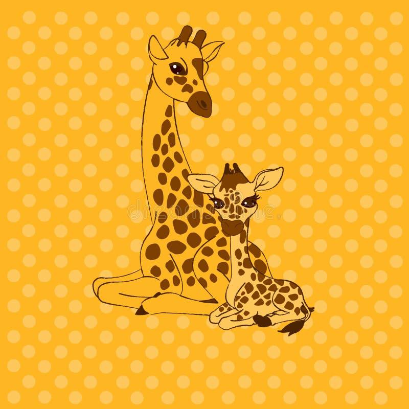 婴孩看板卡长颈鹿母亲位置 皇族释放例证