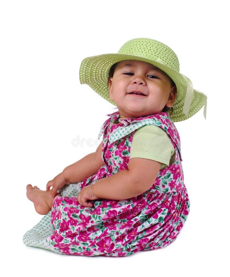 婴孩礼服女孩帽子夏天 免版税图库摄影