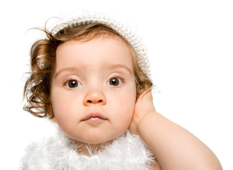 婴孩礼服女孩h白色 免版税库存图片
