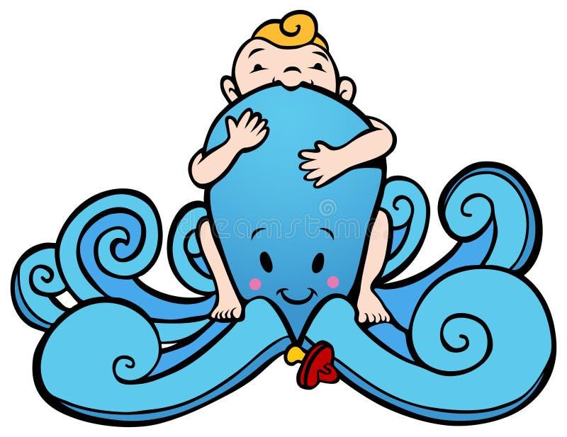 婴孩章鱼 皇族释放例证