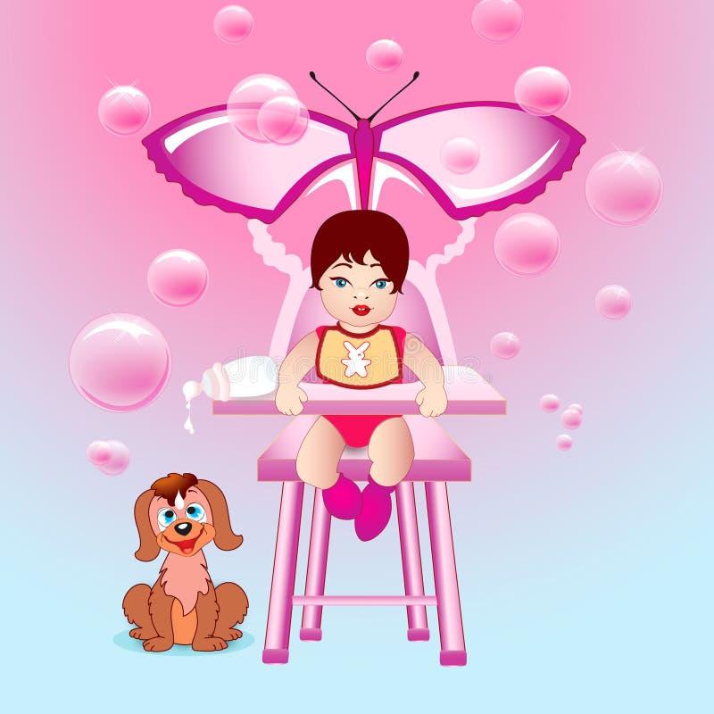 婴孩童年女孩愉快的桃红色世界 皇族释放例证