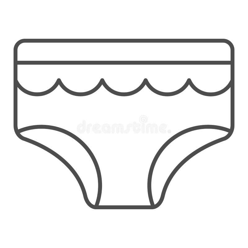 婴孩简报稀薄的线象 儿童的内衣在白色隔绝的传染媒介例证 孩子内裤概述样式设计 库存例证