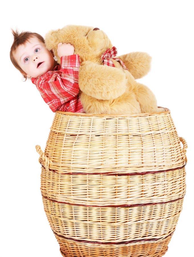 婴孩篮子熊男孩女用连杉衬裤 库存图片