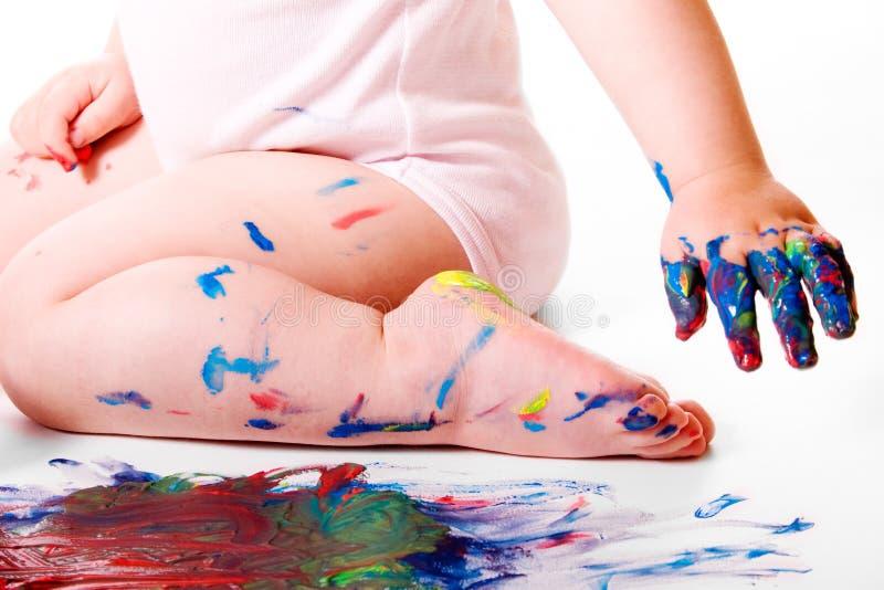 婴孩绘画会议 免版税库存照片
