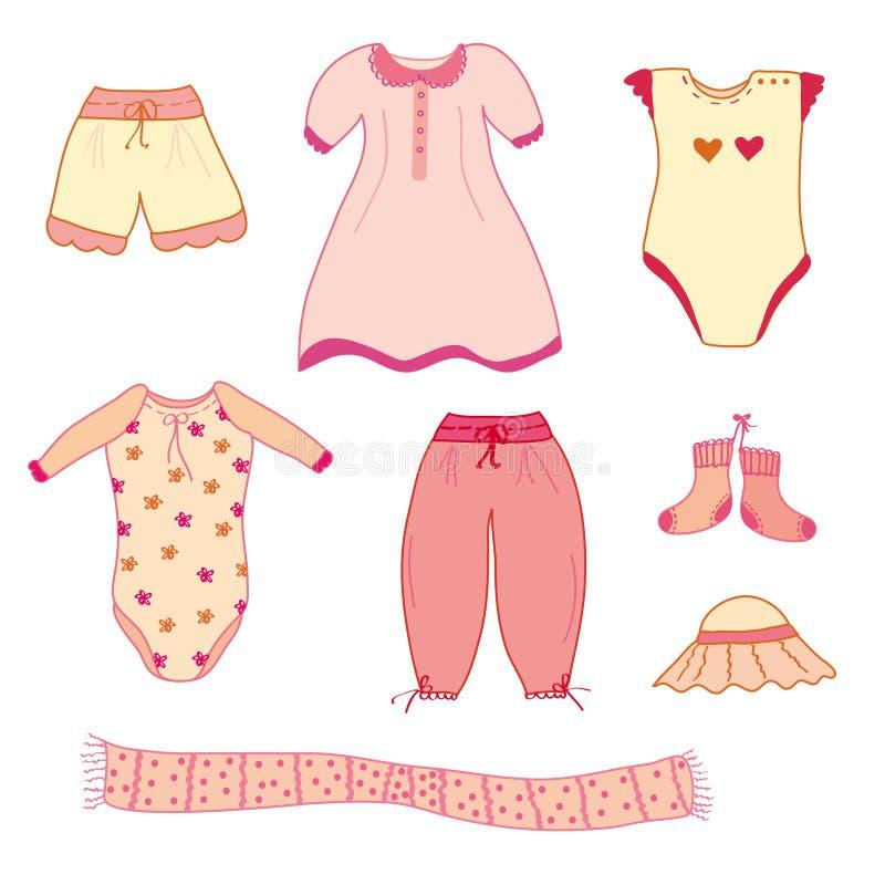 婴孩给收集女孩穿衣 向量例证