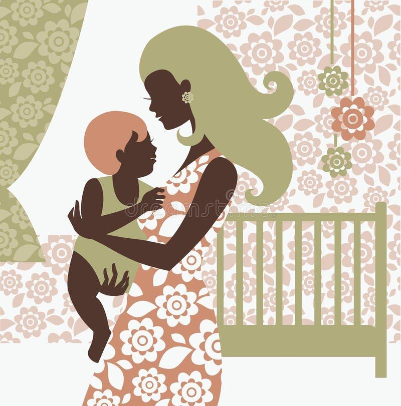 婴孩美丽的母亲剪影 皇族释放例证