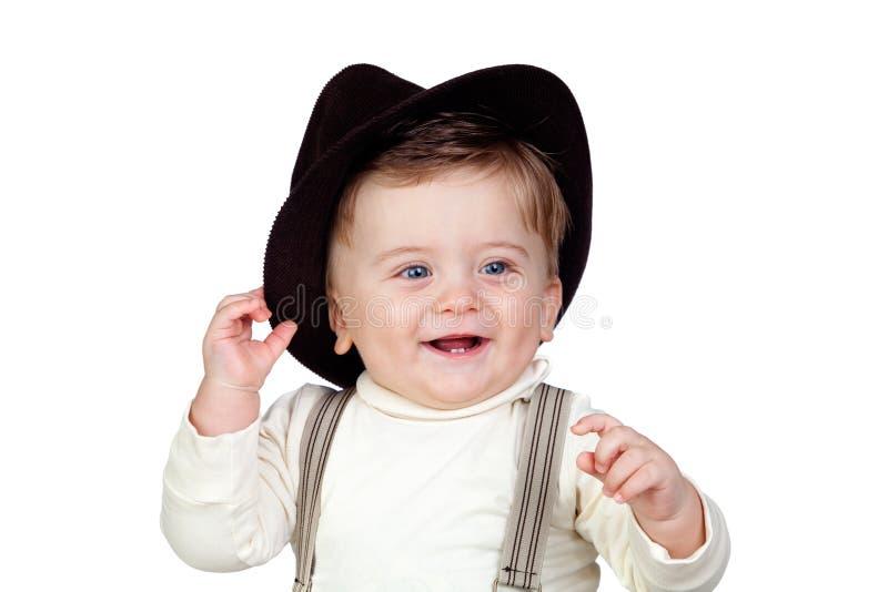 婴孩美丽的白肤金发的蓝眼睛 免版税库存照片