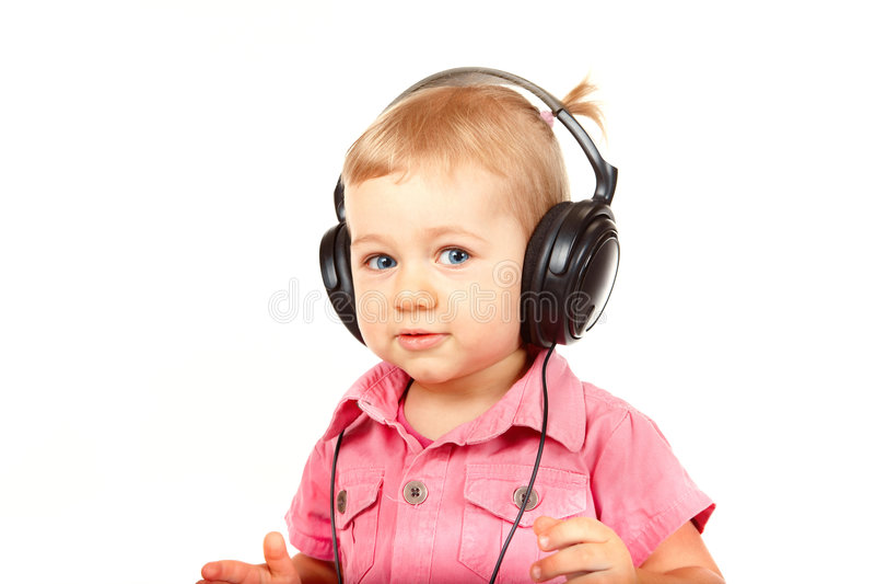 婴孩耳机 免版税图库摄影