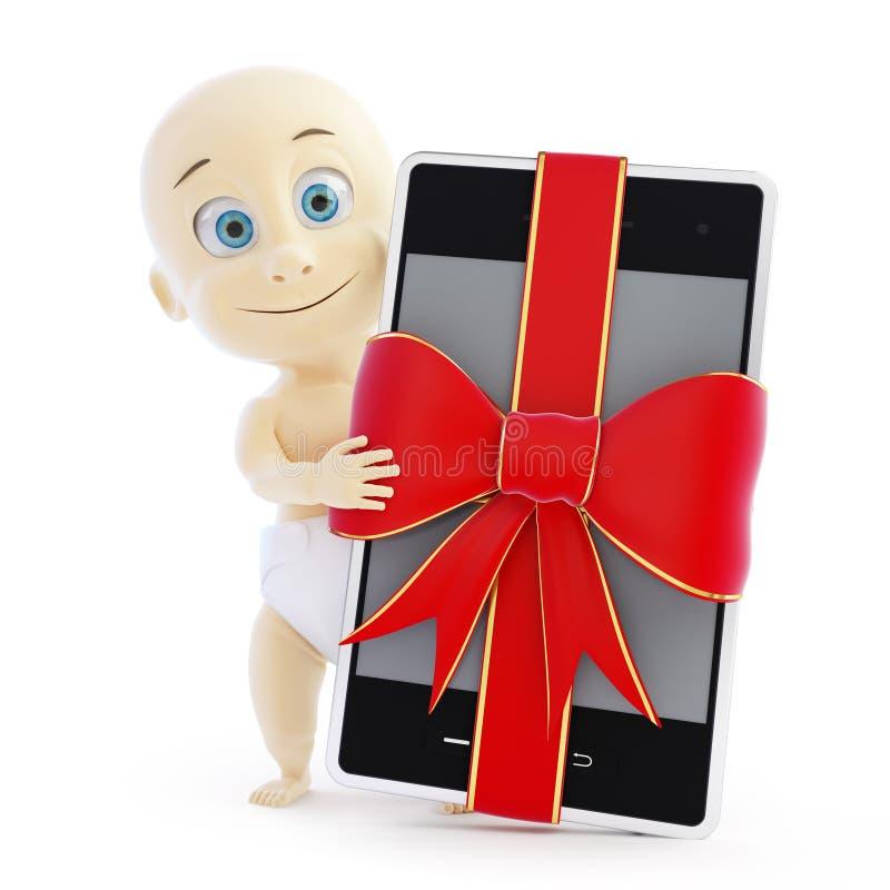 婴孩聪明的电话礼品 库存例证
