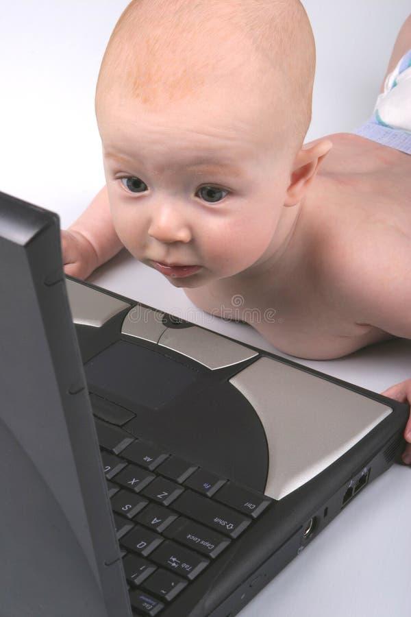 婴孩膝上型计算机一 免版税库存图片