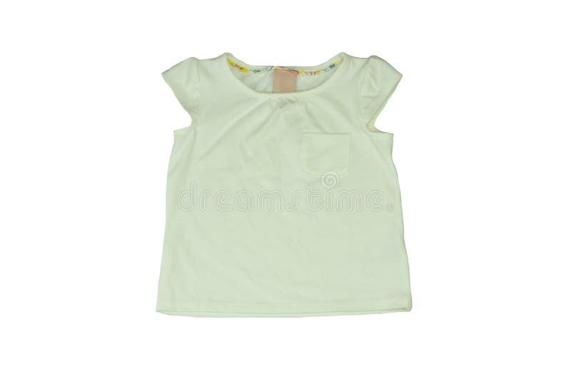 婴孩衣裳 婴孩的白色衬衣没有在w隔绝的袖子 库存照片