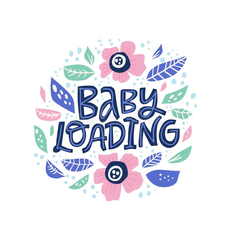 婴孩装载的手拉的传染媒介字法 皇族释放例证