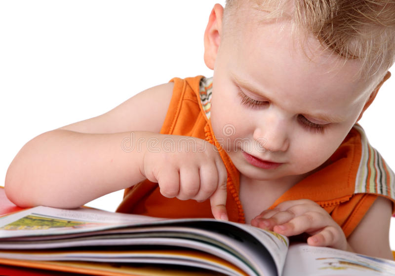 婴孩读了研究 免版税库存照片