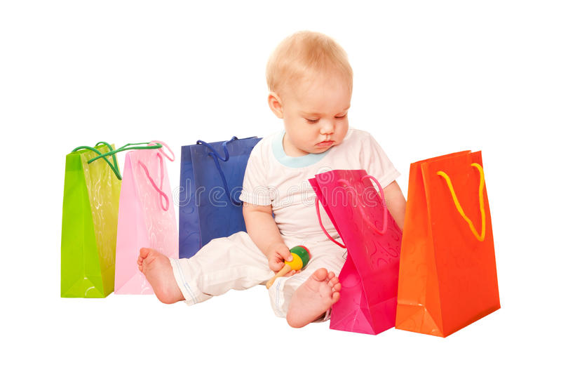 婴孩购物。 库存图片