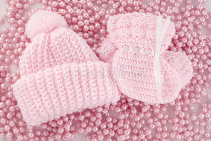 婴孩赃物女孩帽子粉红色 库存照片