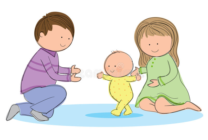 婴孩走 向量例证