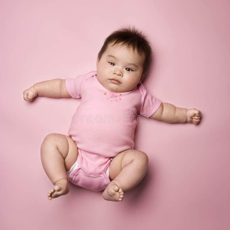 婴孩返回位于 免版税库存图片