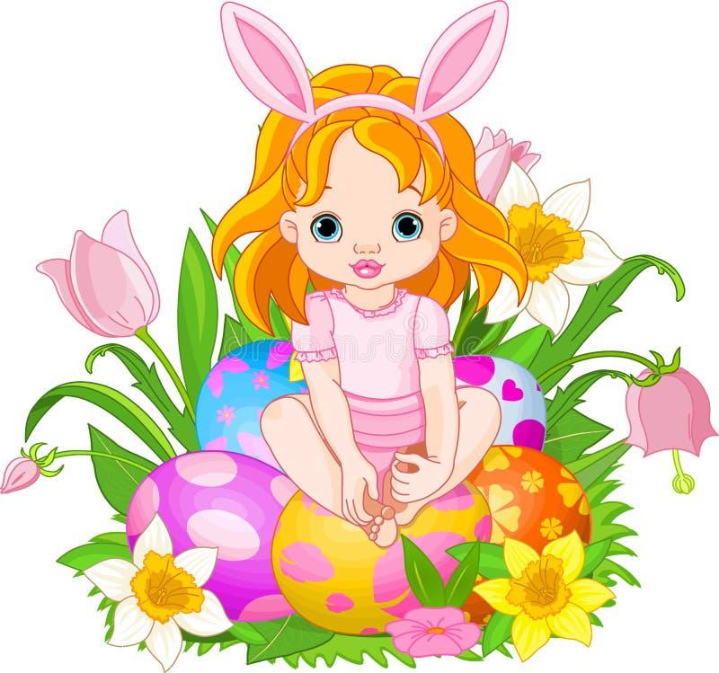 婴孩逗人喜爱的复活节女孩 向量例证
