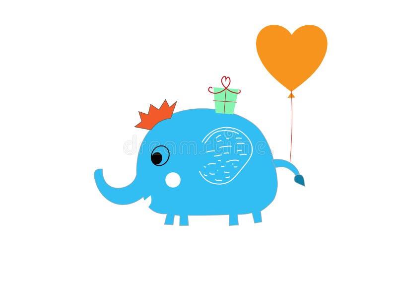 婴孩逗人喜爱的大象第一张生日贺卡 免版税库存照片