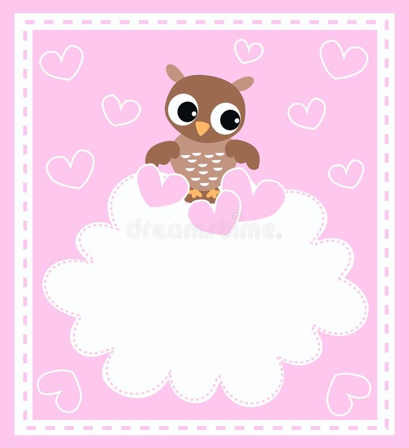 婴孩逗人喜爱的小猫头鹰 库存例证