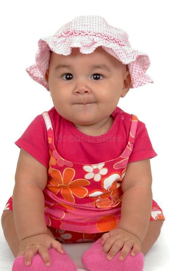 婴孩逗人喜爱的礼服女孩粉红色 免版税库存照片