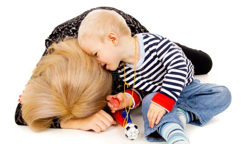 婴孩遗憾母亲 免版税库存图片