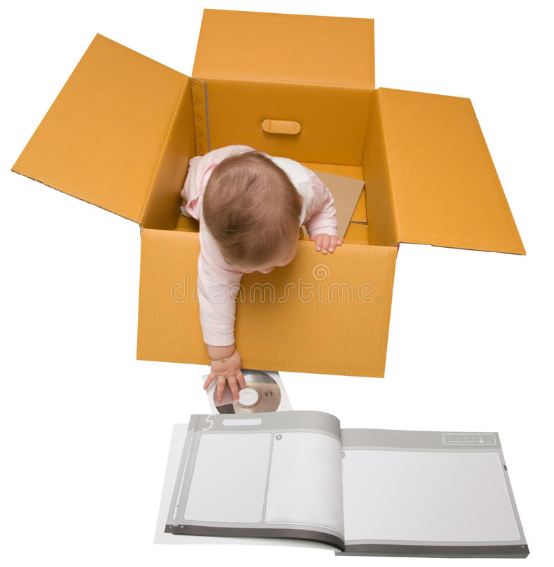 婴孩配件箱盘说明书 免版税库存图片