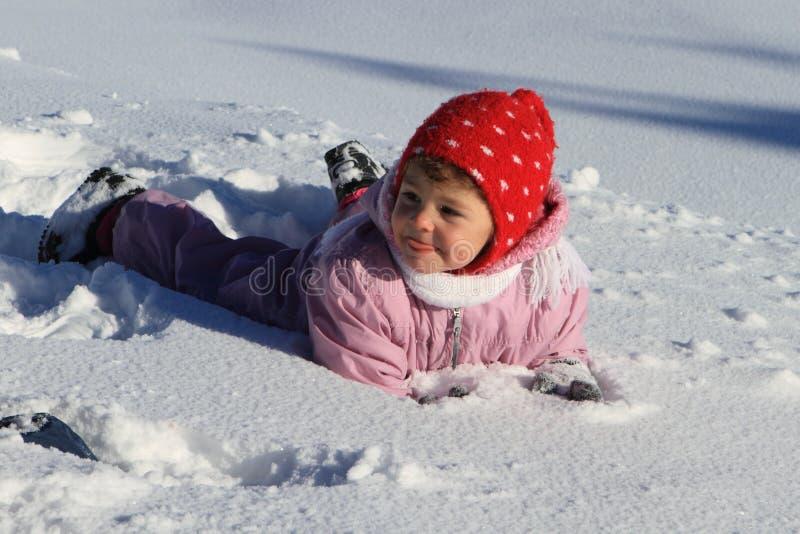 婴孩雪冬天 图库摄影