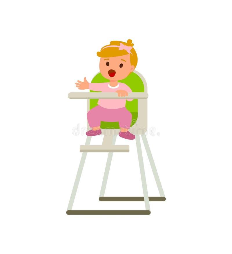 婴孩高脚椅子的儿童女孩有粥板材的  导航在白色背景隔绝的动画片例证 库存例证