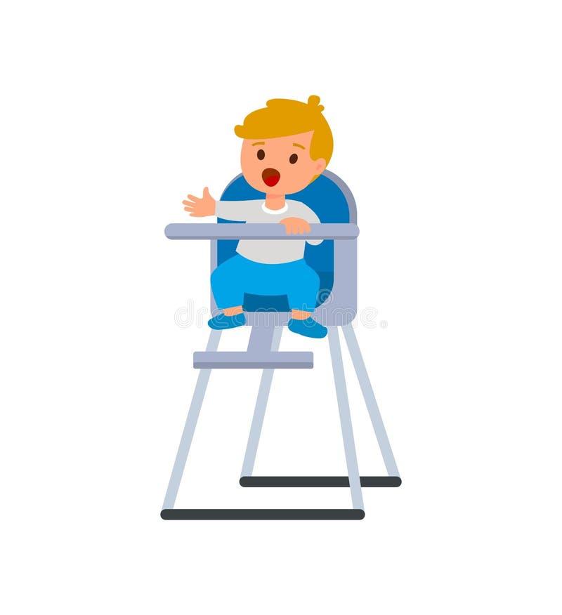 婴孩高脚椅子的儿童男孩有粥板材的  导航在白色背景隔绝的动画片例证 皇族释放例证