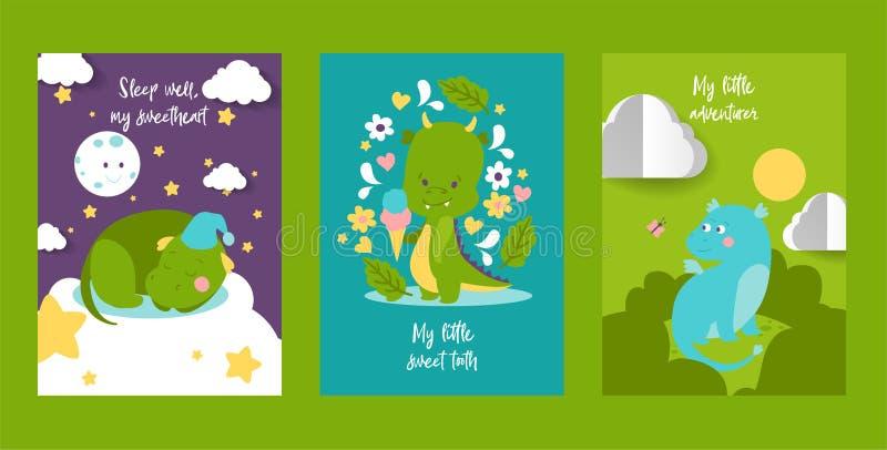 婴孩龙或恐龙动画片传染媒介例证集合 逗人喜爱的幼稚龙字符,孩子的小恐龙 库存例证