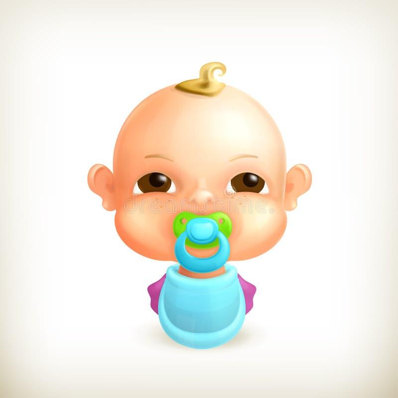 婴孩,图标 向量例证