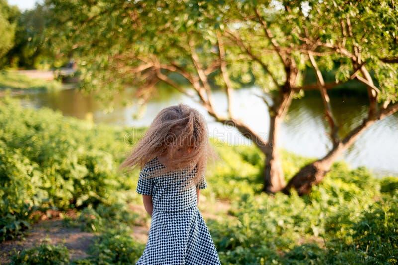 婴孩4年,与蓝眼睛,小卷毛 童年和冒险的美妙的时光 温暖的阳光 振翼的头发  库存照片
